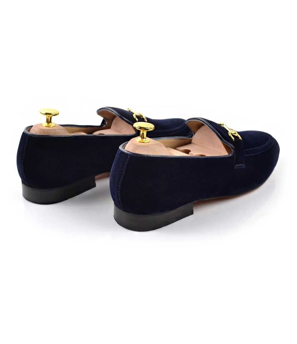 Navy Velvet Bit Slippers - The Dapper Man