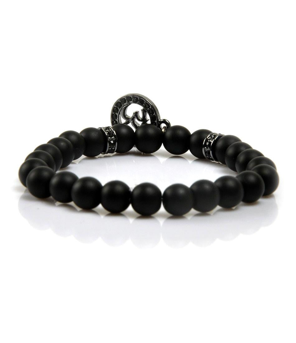 CZ Black Agate & Platinum Black Om Charm Bracelet - The Dapper Man