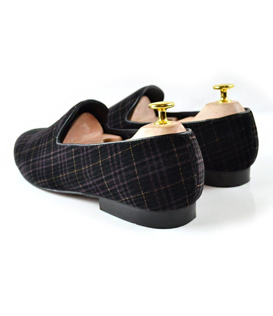 Black Tartan Plaided Albert Velvet Slippers - The Dapper Man
