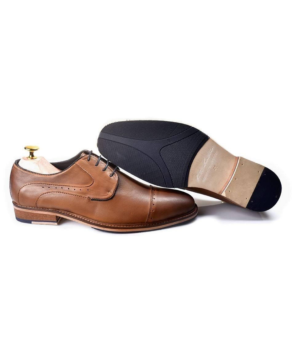 Derby Cap Toe - Brown with Blue Lining - The Dapper Man