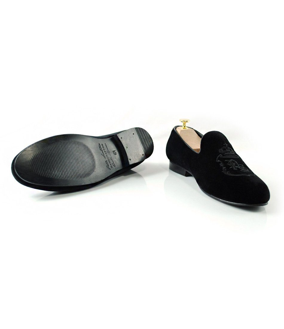 Full Black Albert Velvet Slippers with Signature Embroidery - LE - The Dapper Man