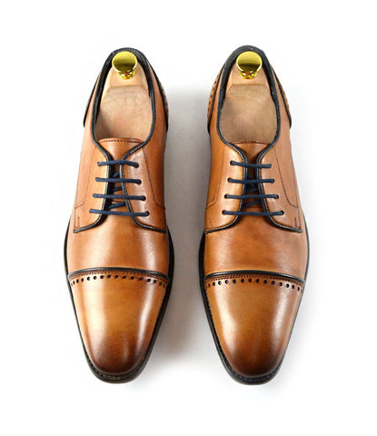 Cap Toe Derby - Tan - The Dapper Man