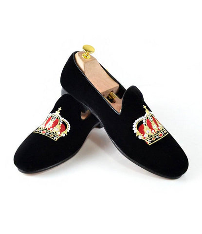 Black Albert Velvet Slippers with Crown Embroidery - The Dapper Man