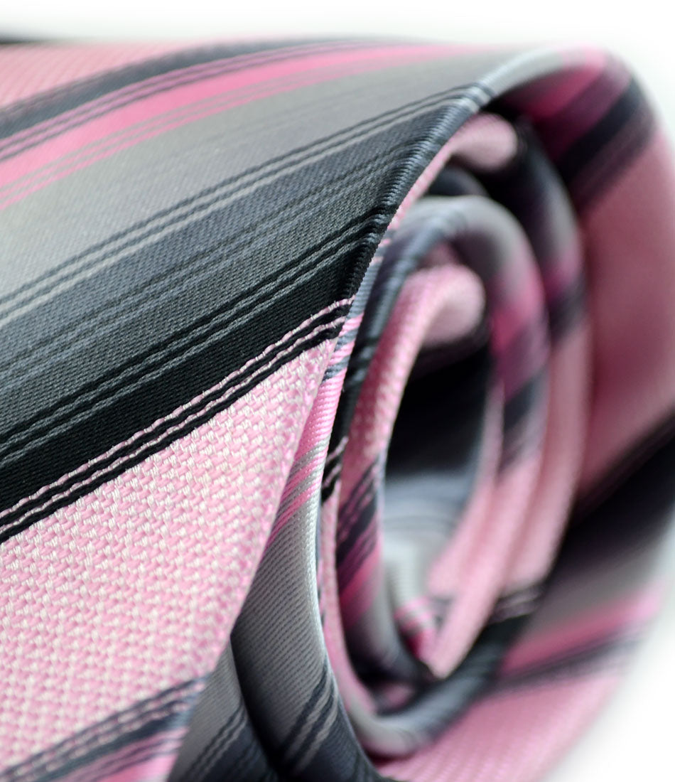 the dapper man - Pink & Grey Stripes Neck Tie