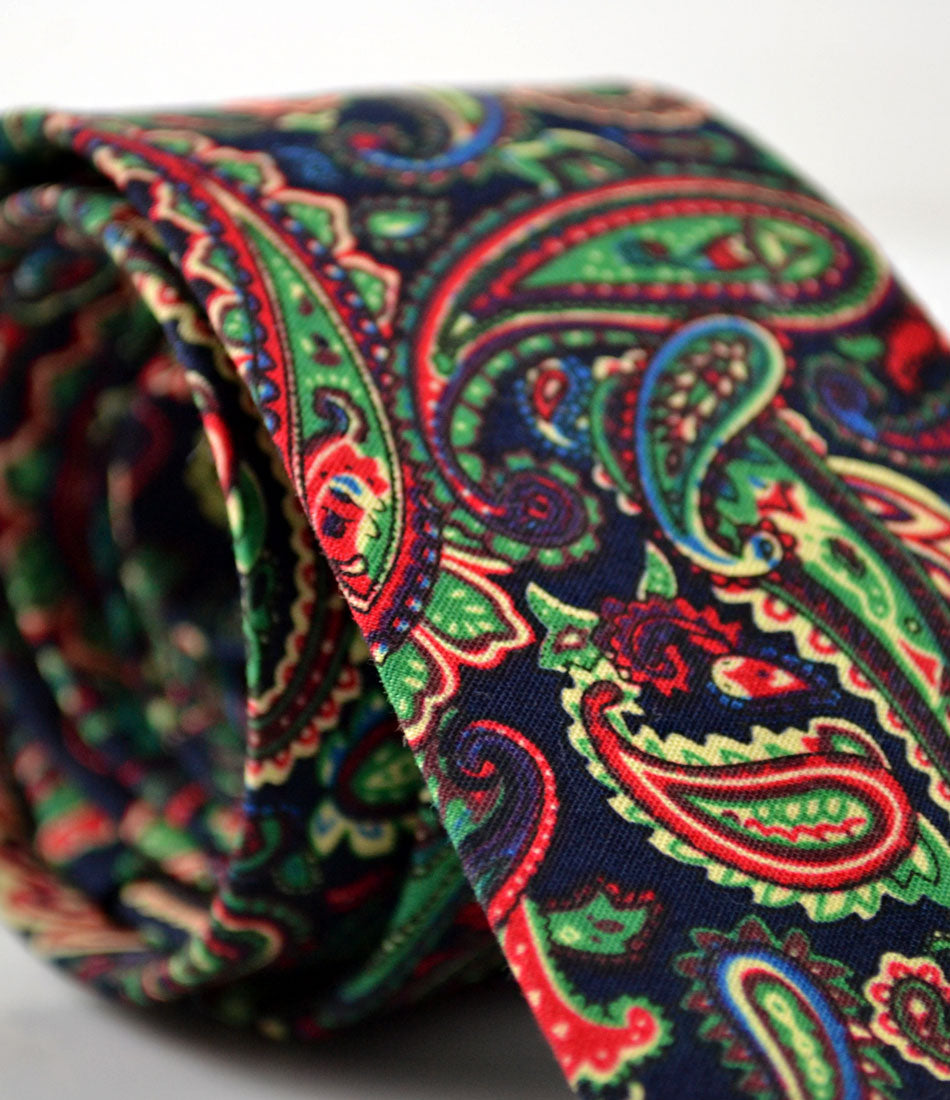 Navy & Green Paisely Neck Tie - The Dapper Man