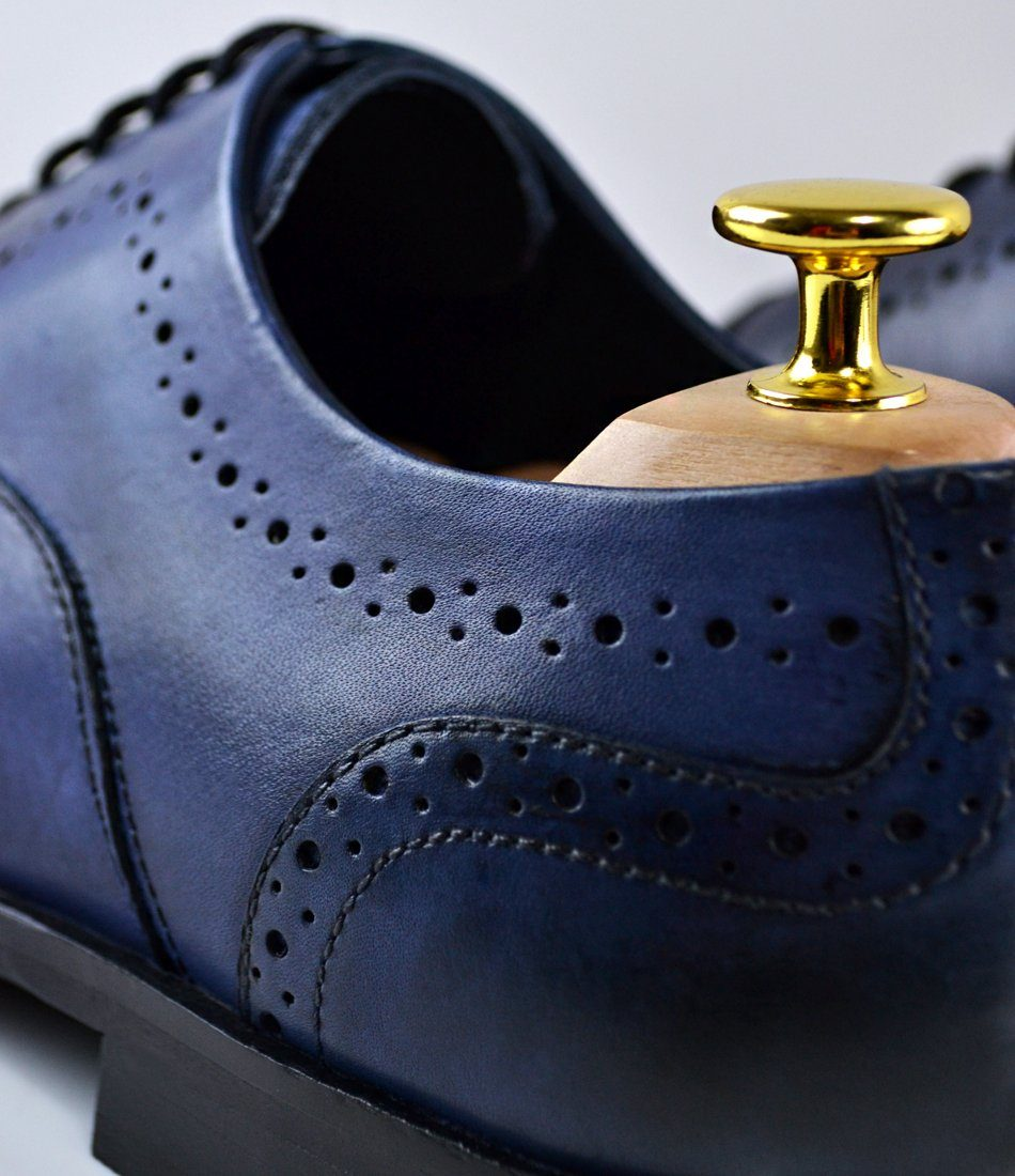 Cap Toe Oxfords - Blue - The Dapper Man