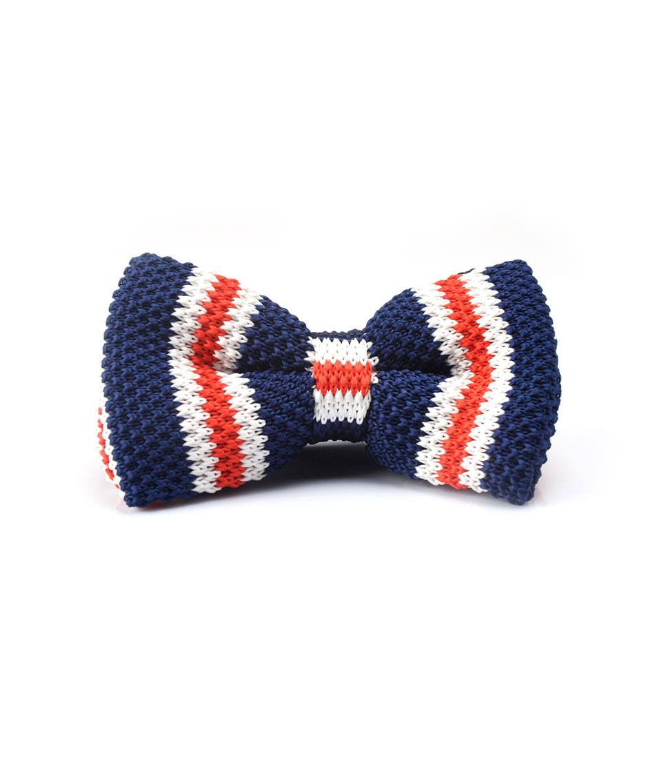 Navy with Red & White Stripes Knitted Bow Tie - The Dapper Man