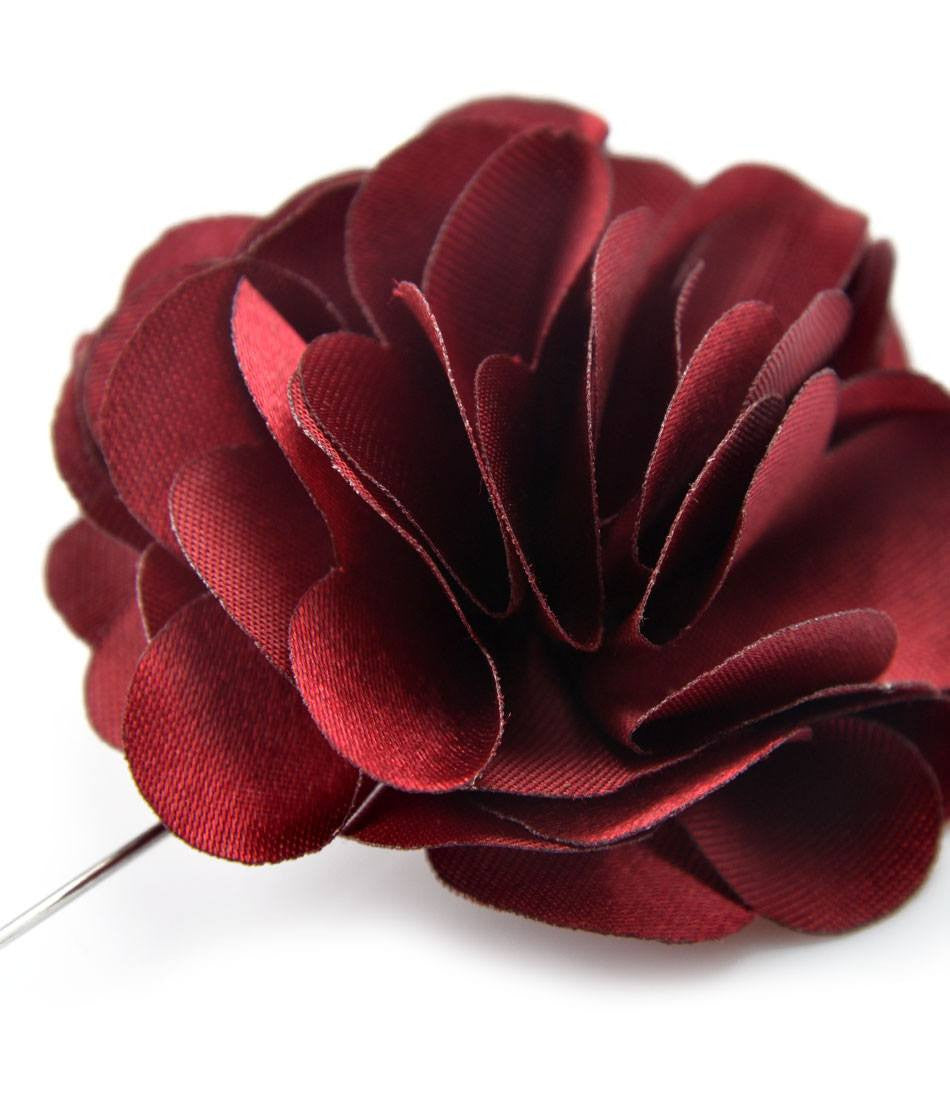 Burgundy Petals Flower Lapel Pin - Big - The Dapper Man
