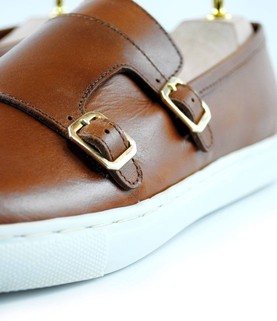 Double Monk Leather Sneakers - Tan - The Dapper Man
