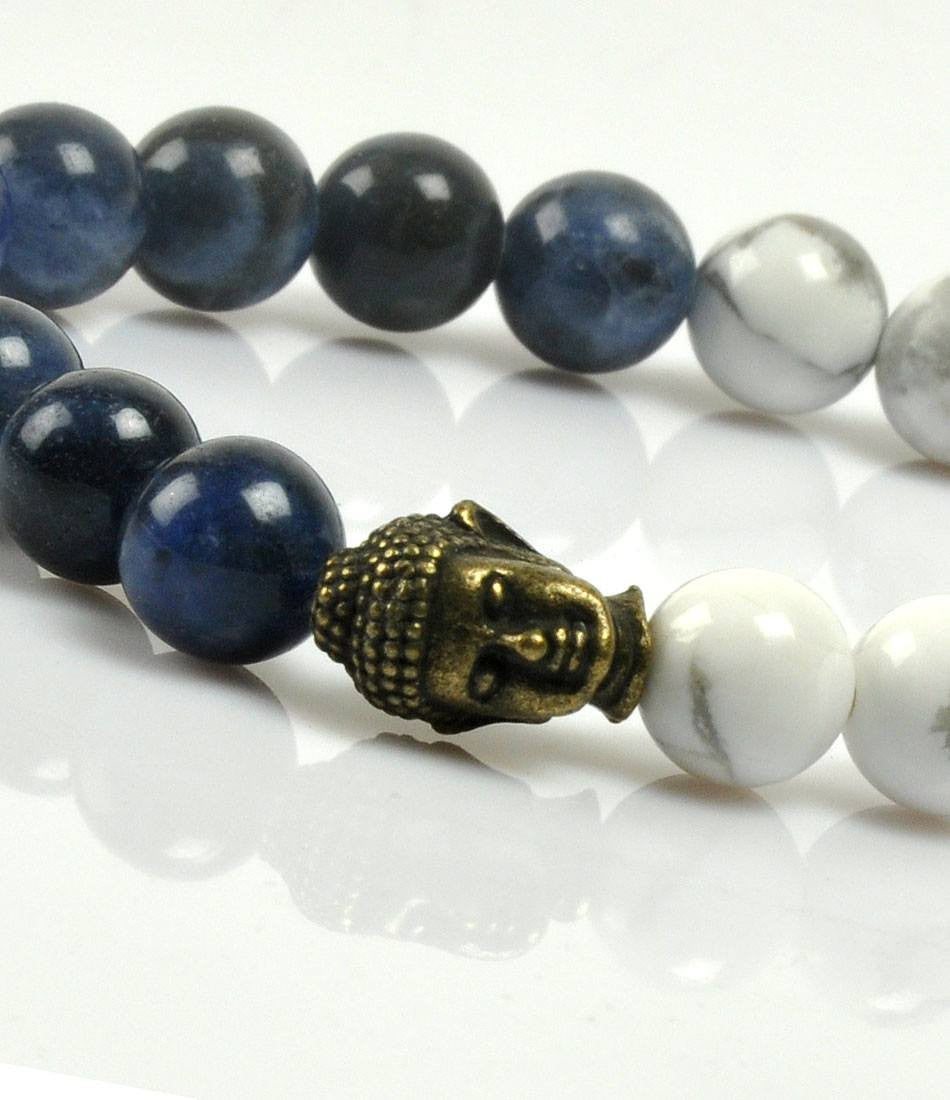 Howlite & Blue Bronze Buddha Charm bracelet - The Dapper Man