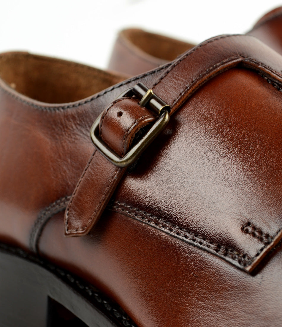 Pelle Santino - Goodyear Welted - Cross Monk Strap - Cognac