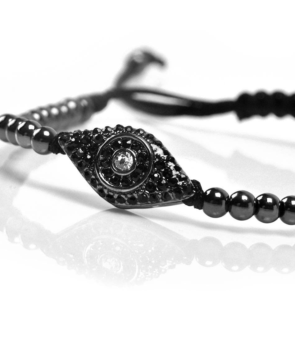 Platinum Black Evil Eye CZ Charm Bracelet - The Dapper Man
