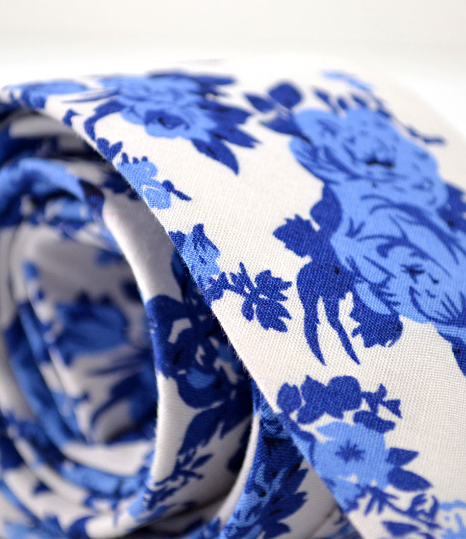 White & Blue Santorini Floral Neck Tie - The Dapper Man