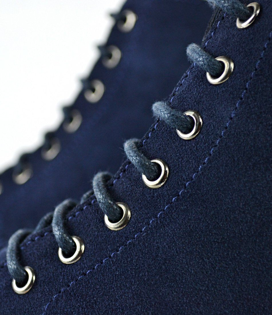 Blue Suede Lace-up Boot - The Dapper Man