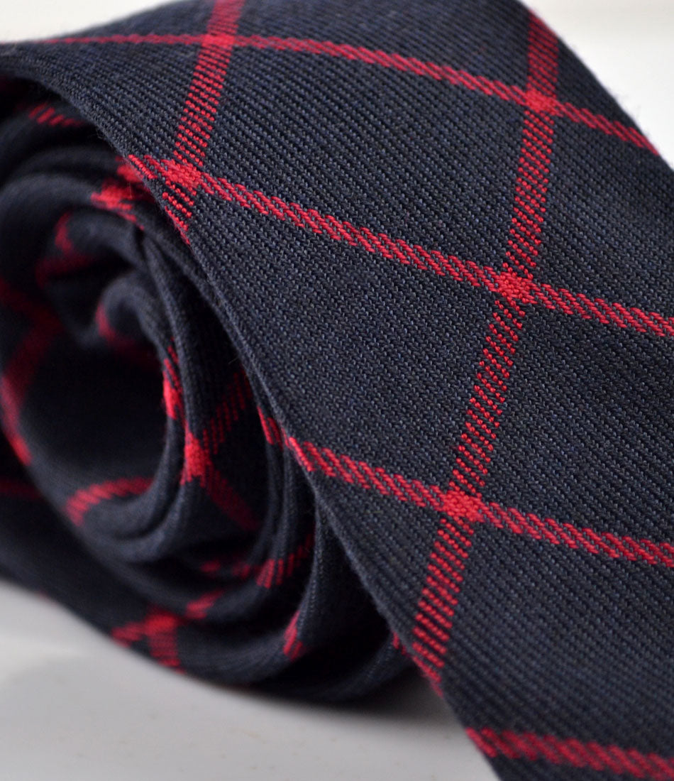 Navy & Red Woven Checks Neck Tie - The Dapper Man
