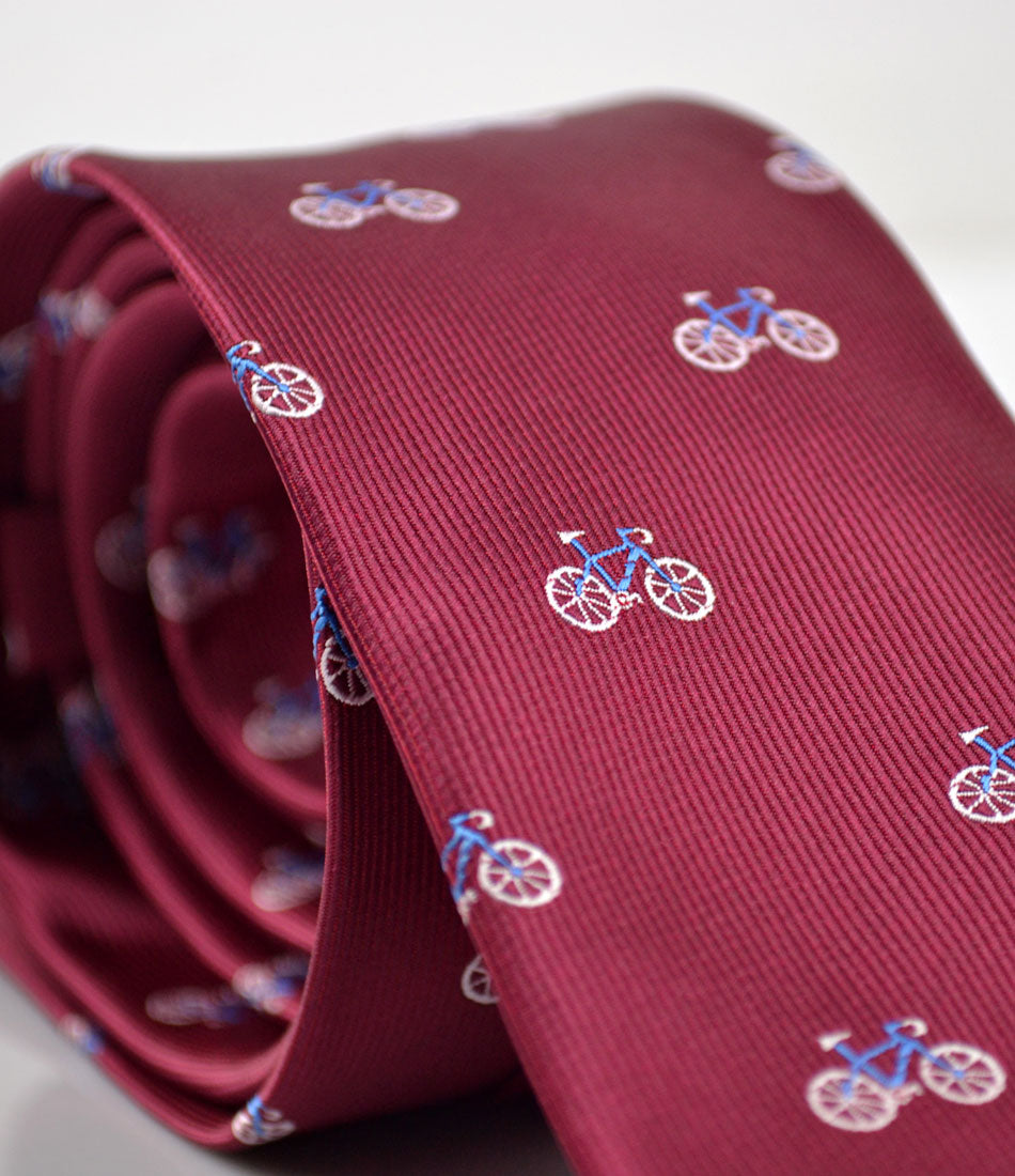 Rich Maroon Blue Bicycle Neck Tie - The Dapper Man