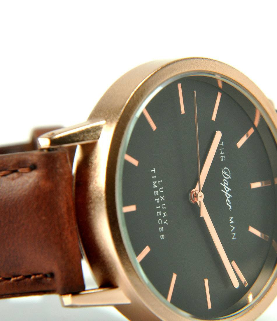 London Rose Gold - Brown Leather - The Dapper Man