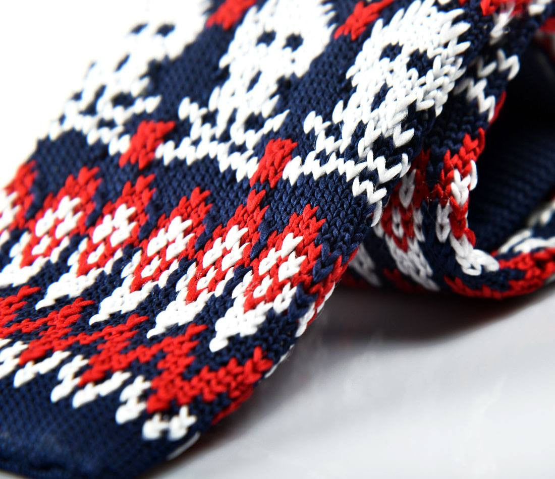 Blue & Red Skull Pattern Neck Tie - close up