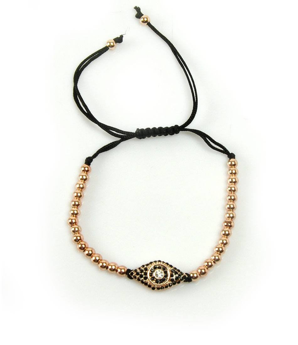 Rose Gold Evil Eye CZ Charm Bracelet - The Dapper Man