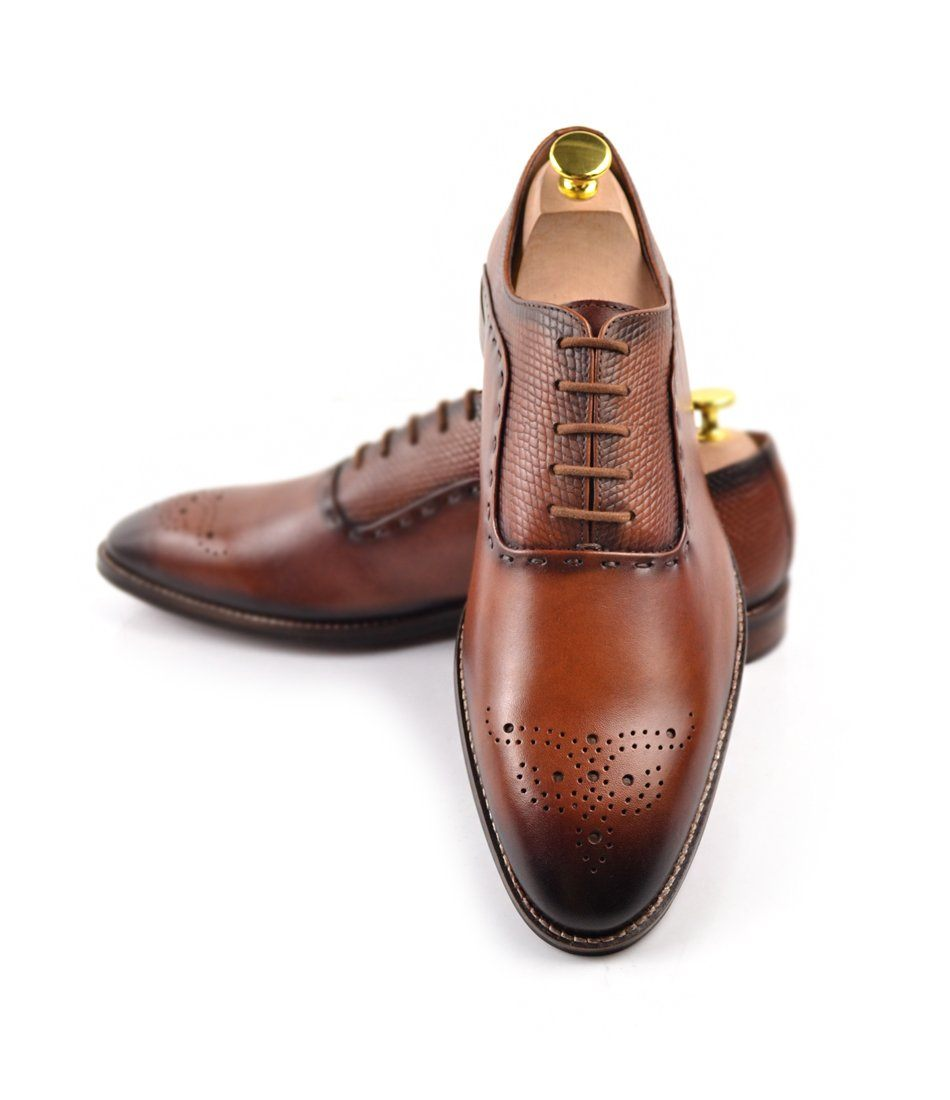 Medallion Toe Oxfords - Cognac - The Dapper Man