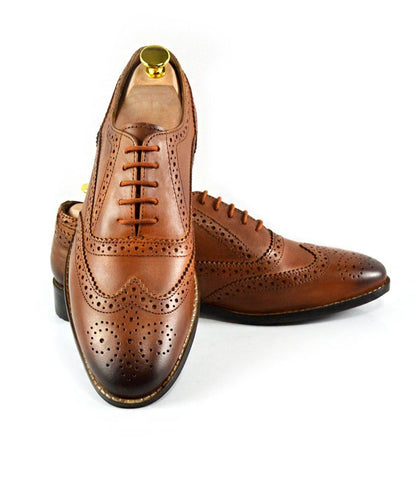 Full Brogue Oxfords - Tan - The Dapper Man