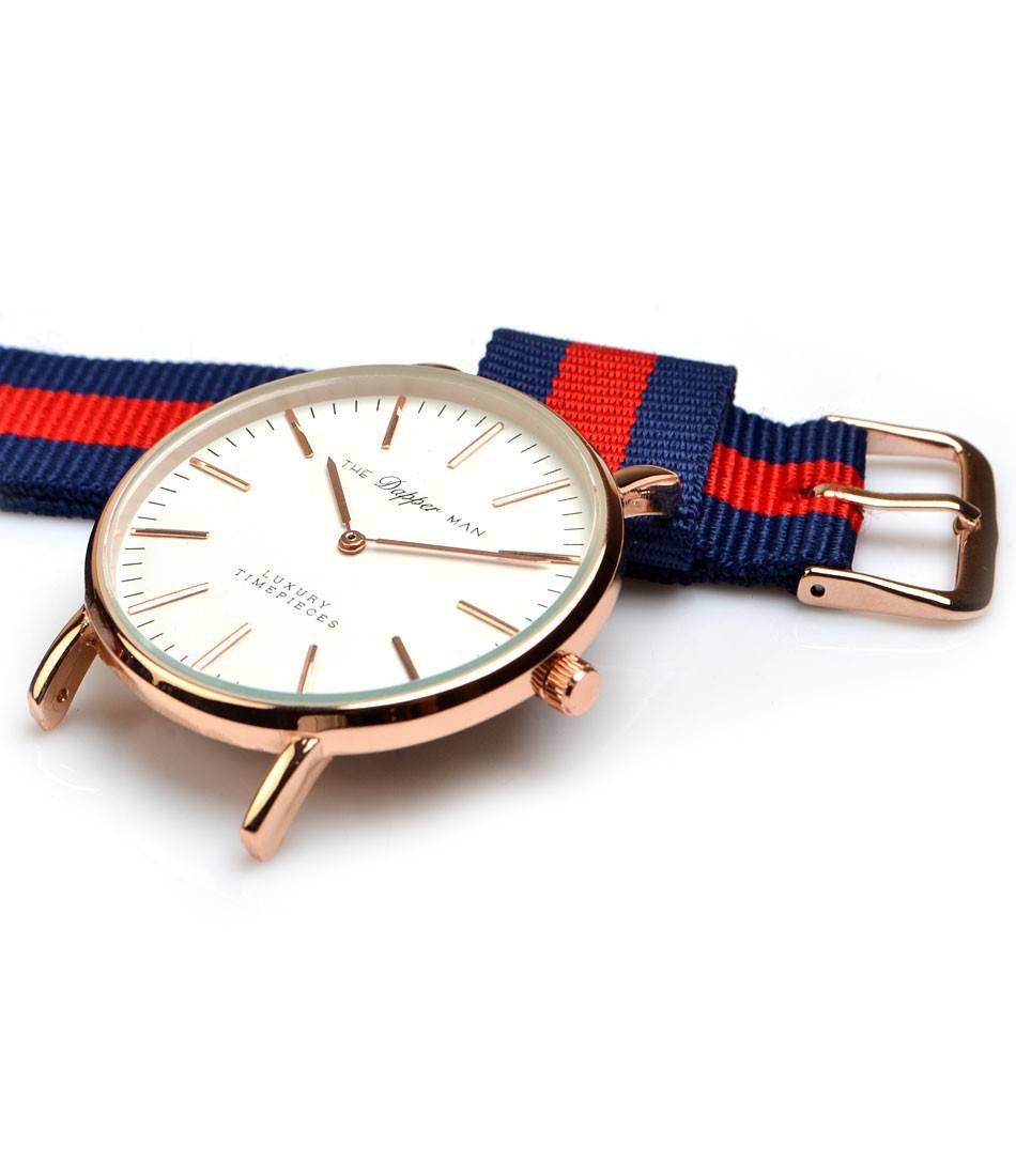 NATO Strap - Navy & Red - The Dapper Man