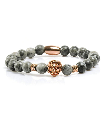 Grey Jasper Rose Gold Lion Charm Bracelet
