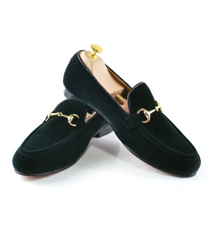 Green Velvet Bit Slippers