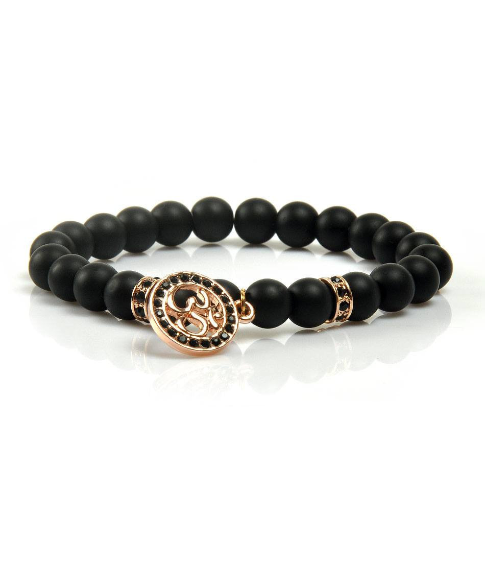 CZ Black Agate & Rose Gold Om Charm Bracelet - The Dapper Man