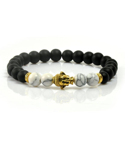 Agate & Howlite Golden Buddha Charm bracelet - The Dapper Man