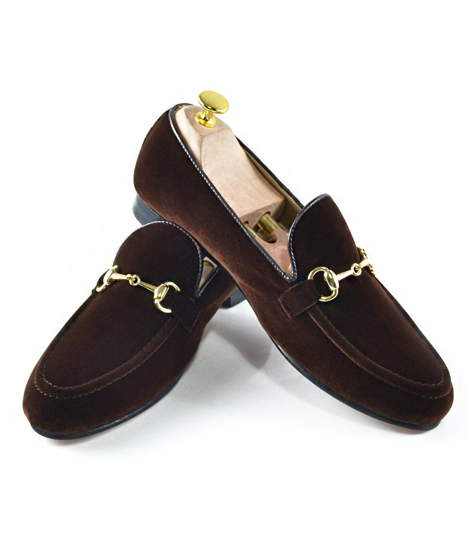 Brown Velvet Bit Slippers - The Dapper Man