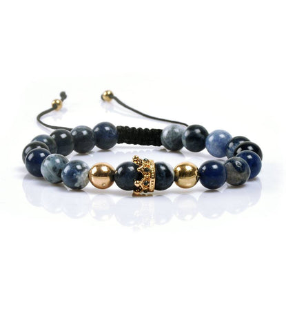 Blue Jasper Golden Crown Charm Bracelet