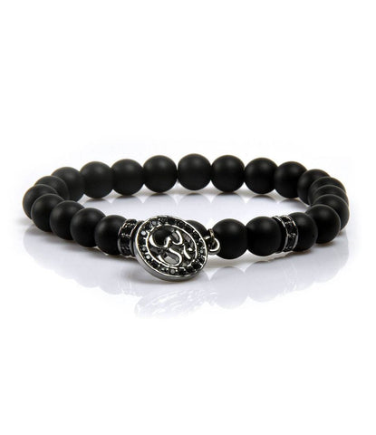 The Dapper Man - CZ Black Agate & Platinum Black Om Charm Bracelet