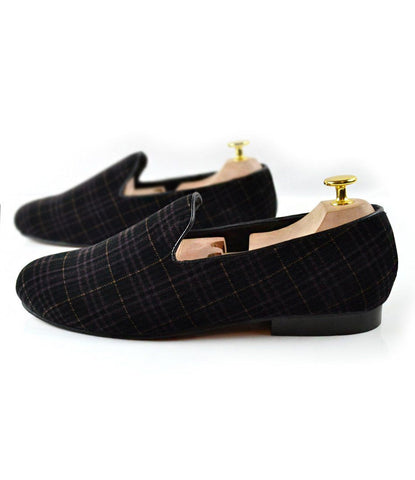 Pelle Santino - Black Tartan Plaided Albert Velvet Slippers