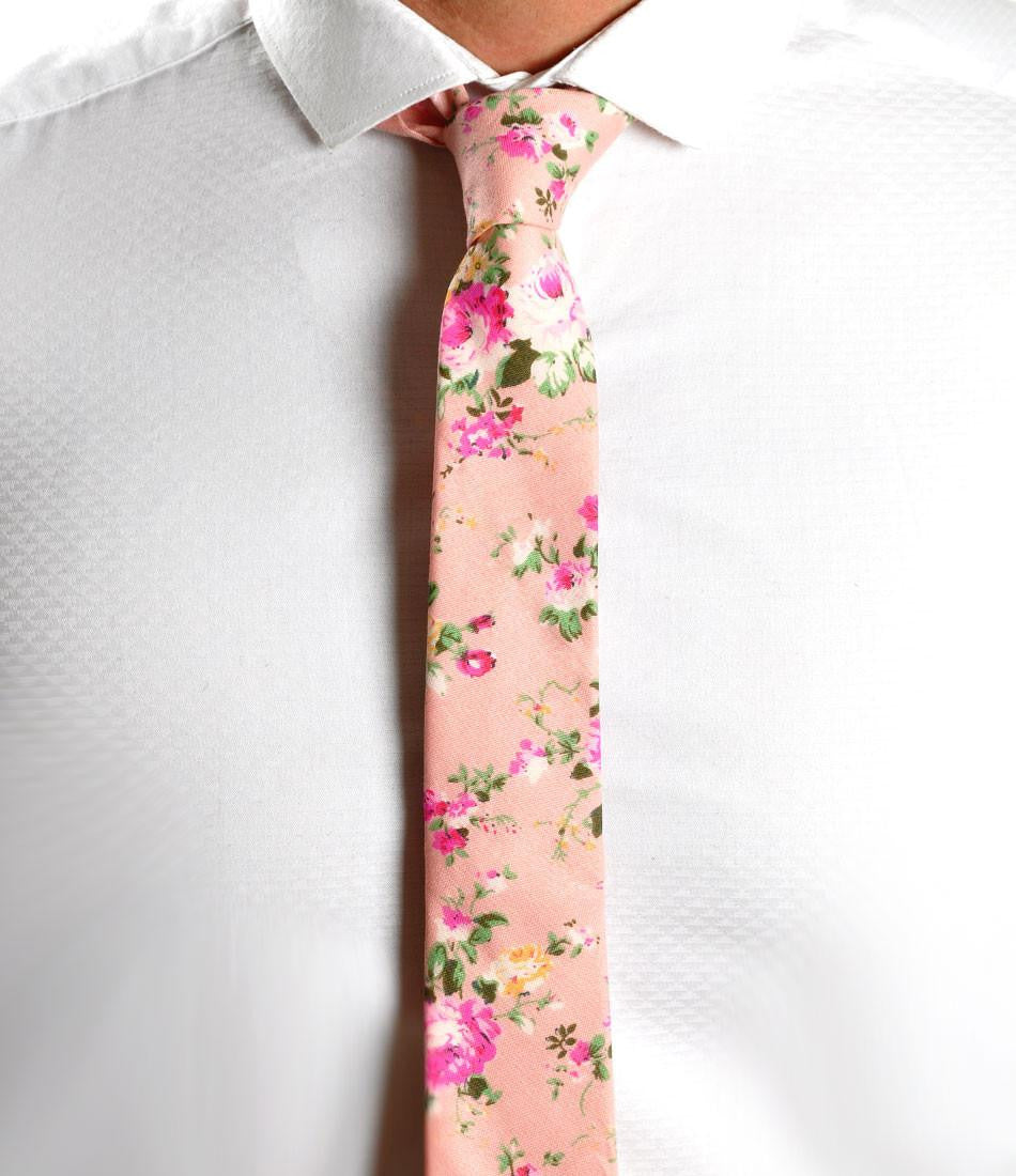 Vintage Pink Floral Neck Tie - The Dapper Man