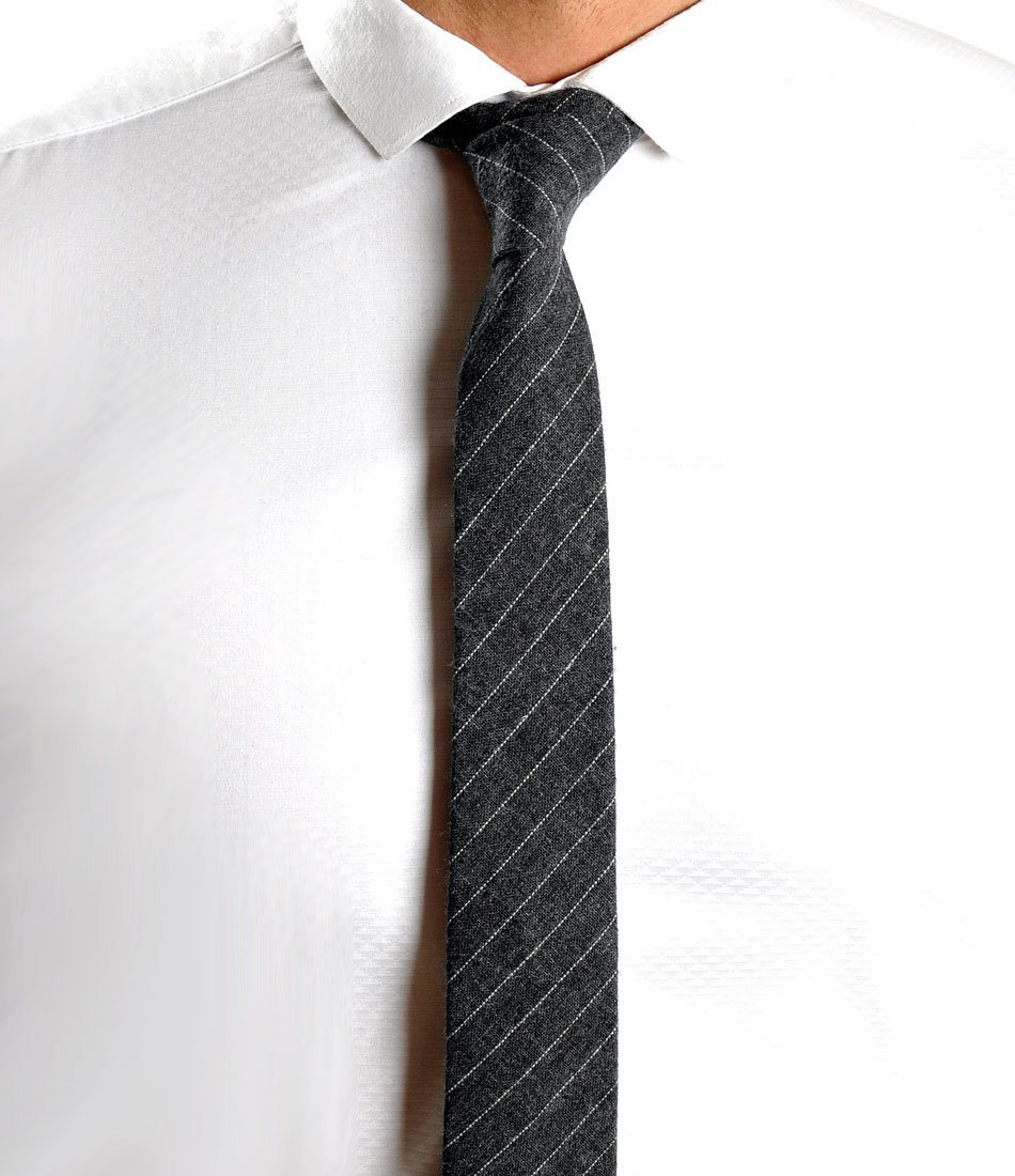 Dark Grey & White Rich Woolen Neck Tie - The Dapper Man