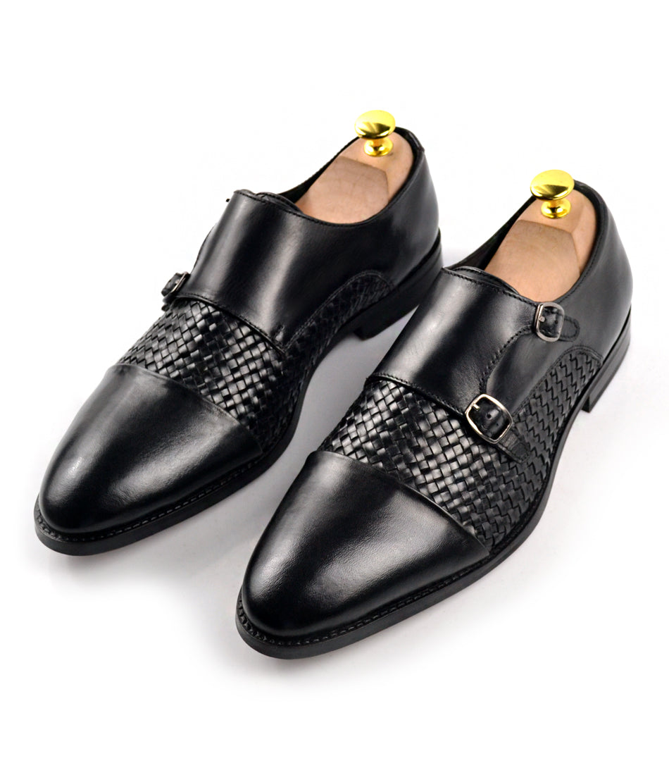 Handwoven Double Monk Straps - Black - The Dapper Man