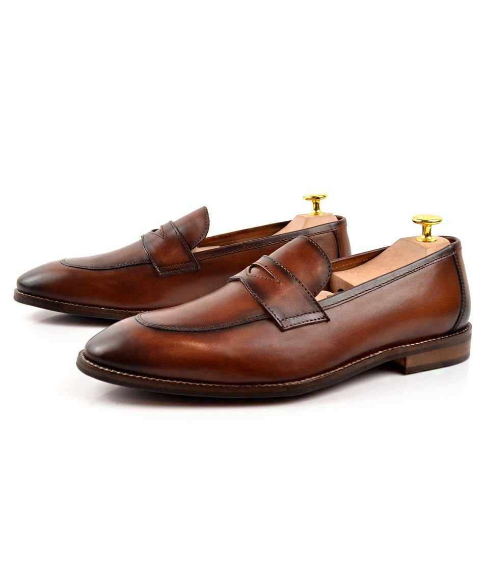 Cognac Penny Loafers - The Dapper Man