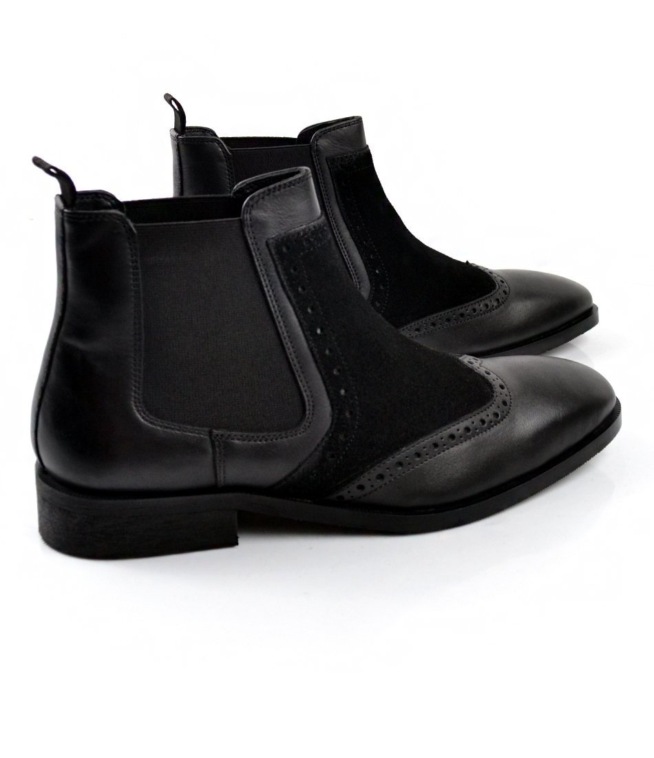 Black Wing Tip Chelsea Boot - The Dapper Man