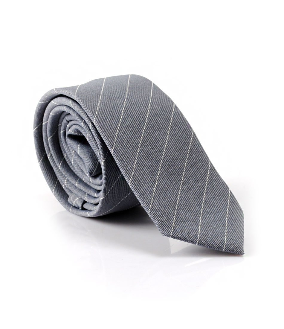 Grey & White Stripes Neck Tie - The Dapper Man