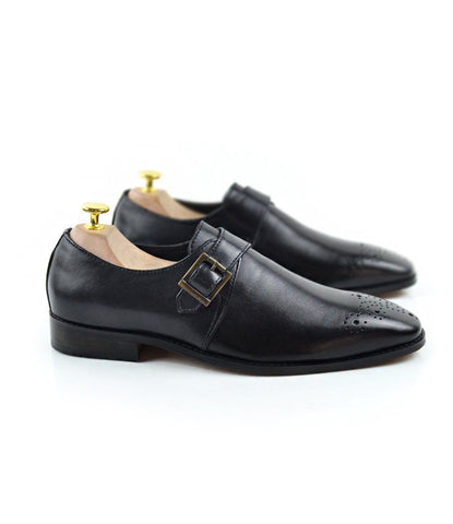 Medallion Toe Single Monks - Black - The Dapper Man