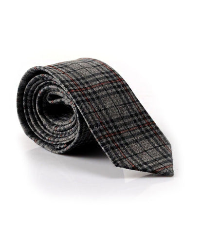 Grey Chequered Rich Woolen Neck Tie - The Dapper Man