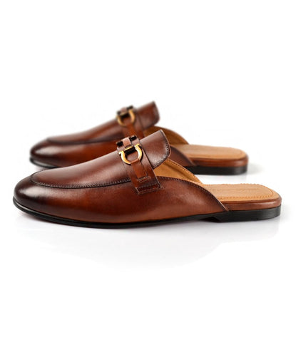 Leather Bit Mule - Cognac - The Dapper Man