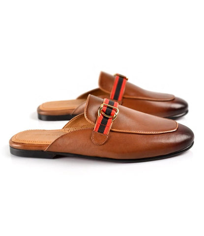 Rougé Buckle Leather Mule - Tan - The Dapper Man