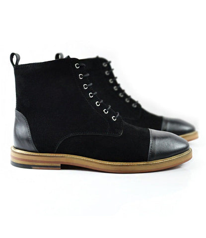 Pelle Santino - Black Suede Lace-up Boot