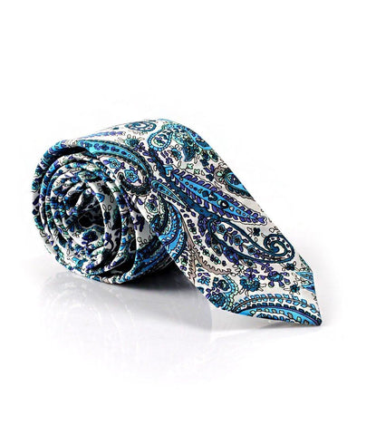 Blue and White Paisley Neck Tie - The Dapper Man