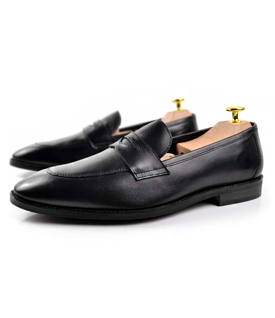 Full Black Penny Loafers - The Dapper Man