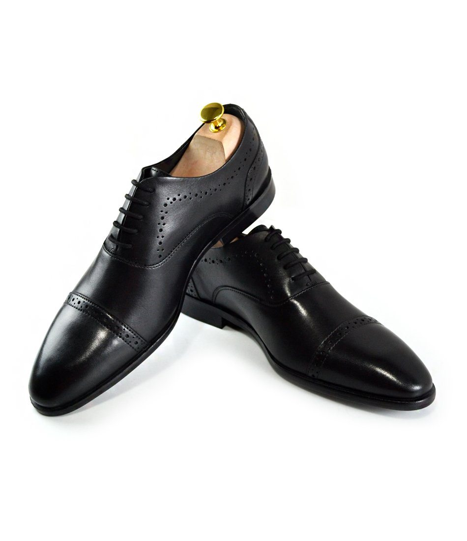Cap Toe Oxfords - Black - The Dapper Man