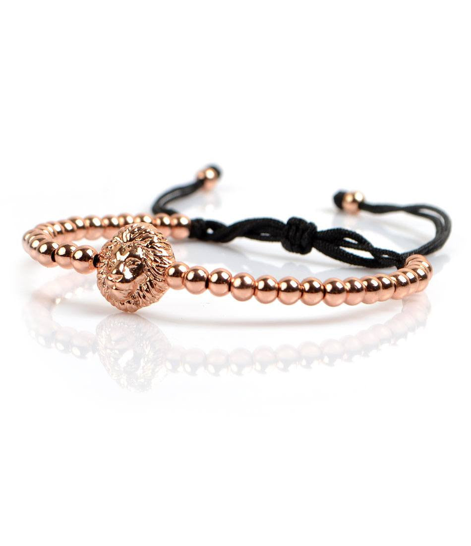 Rose Gold Lion Head Charm Bracelet - The Dapper Man