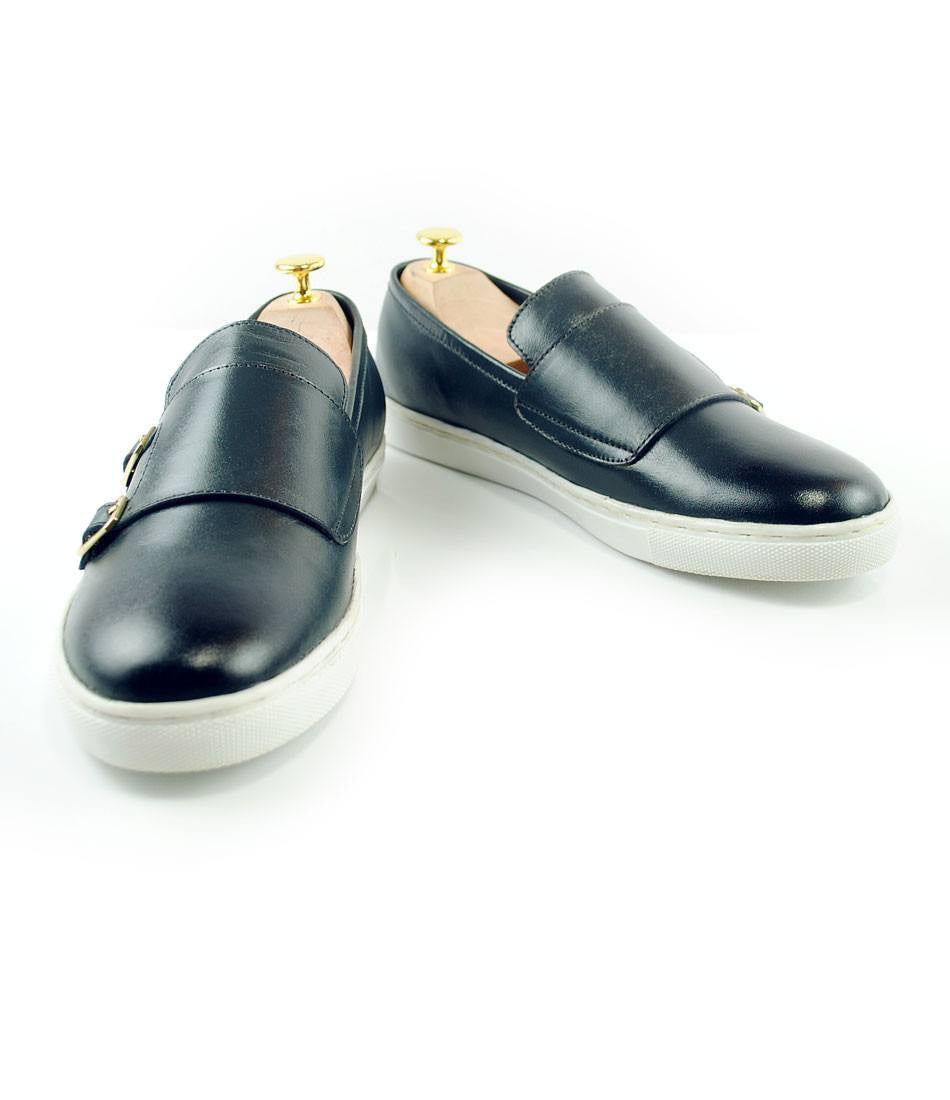 Double Monk Leather Sneakers - Navy - The Dapper Man